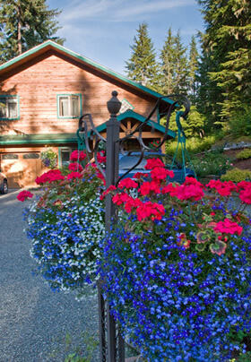 View of the inn from the street behind a lush hanging planter of deep pink and cornflower blue flowers.